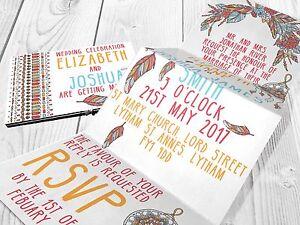 Personalised-HANDMADE-Boho-Wedding-Day-Invites-Evening-Invitation-Envelope