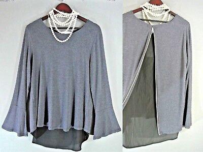 Gray, XL Design History Chiffon-Inset Top