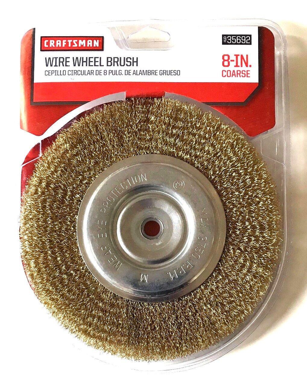 """CRAFTSMAN 8/"""" BENCH GRINDER COARSE WIRE WHEEL BRUSH 5//8 /& 1//2 ARBOR 935692"""