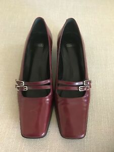 8cc1f8a992b Details about COACH - Vintage Red Ruby Buckle Mary Jane Short Heel Flats  AUTHENTIC - US 6