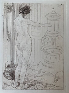 Carl larsson etching eau forte etching model se heater naked nude female study