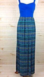 Mudd-Women-039-s-Long-Blue-Print-Sleeveless-Summer-Dress-Sz-L