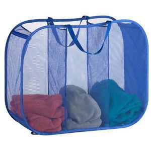 Honey-Can-Do HMP-03892 Mesh Triple Sorter Laundry Basket, Blue