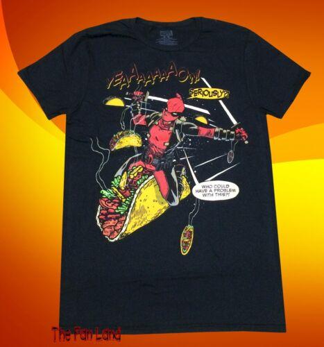 New Marvel Deadpool Taco Riding Mens T-Shirt