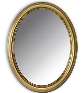 Détails sur Miroir mural ovale or 46X36 shabby miroirs de sale de bain  moderne miroir ancien