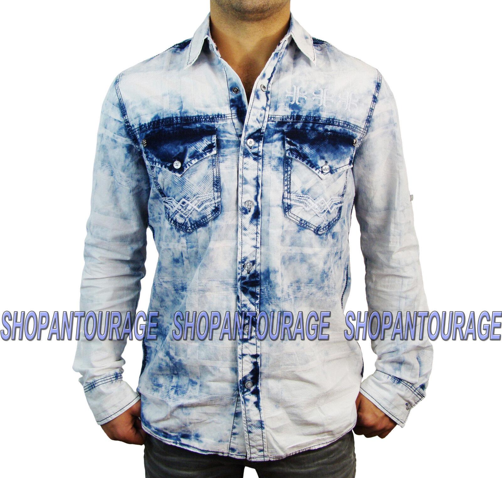 AFFLICTION Take A Swing 110WV460 Men`s New White Denim Button-Down Shirt