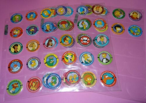 Pogs THE SIMPSONS Set of 50 w10 Slammers Sheets included 1994
