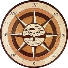 "18"" Wood Floor Inlay 104 Piece Whale Tail Compass Medallion kit DIY Flooring"