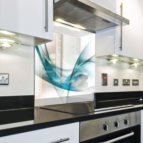 Kitchen Tempered Glass Splashback Protection vector abstract blue