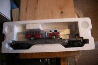 MTH Rail king O Gauge Flat car w/ fire truck #30-7629 MTH Transporation Co.