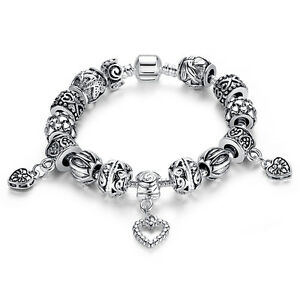 European 925 Silver Charms Bracelets, Love Pendants Women Romantic DIY Jewelry
