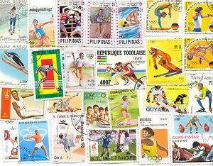 Vente Pas Cher Jeux Olympiques Timbres 300 Tous Différents, Tous Les Sports Large-taille Moyenne-afficher Le Titre D'origine Facile à Lubrifier