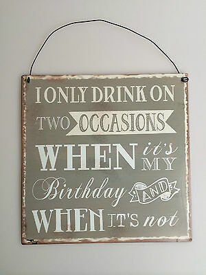 AMUSING Vintage Metal Sign/Plaque 3 Designs ~ ALCOHOL~COFFEE~DRINK TWO OCCASIONS