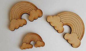 10 x Wooden Medite MDF rainbow cloud craft Shape Decoration baby nursery 001