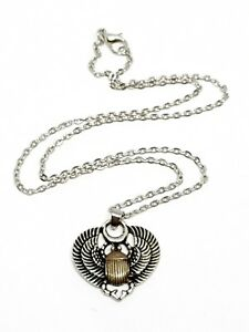 Egyptian scarab beetle pendant symbol of life silver gold tone chain image is loading egyptian scarab beetle pendant symbol of life silver aloadofball Gallery