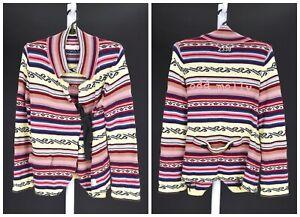 Womens-Odd-Molly-233B-Wrap-Cardigan-Sweater-Knit-Cotton-Striped-Size-3-M