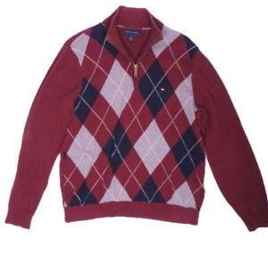 d4e3fe43c0cd Das Bild wird geladen Tommy-Hilfiger-Pullover-Strickpulli-Sweatshirt-Rot- Herren-Groesse-