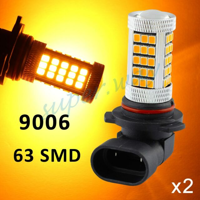 2x Yellow/Amber 9006 HB4 63-SMD Car Driving Fog Light LED Bulb Lamp Lens