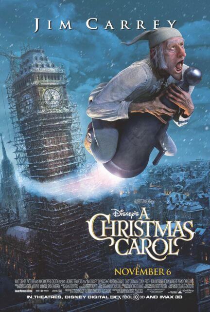 A Christmas Carol movie poster (b) : 11 x 17 inches - Jim Carrey poster, Scrooge   eBay
