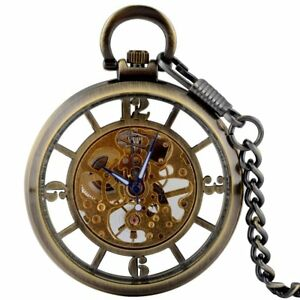 8d34ce0cd71 Image is loading Steampunk-Mechanical-Antique-Bronze-Pocket-Watch-Chain-Open -