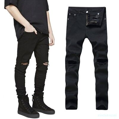 Men/'s Black Bleached Ripped Hole Distressed Jeans Washed Denim Pants DL1201-J18E