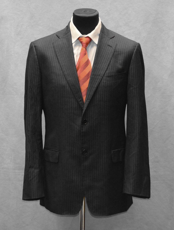 B0 Auth VERSACE COLLECTION Grau Wool & Silk Striped 2 Button Blazer Größe It 52