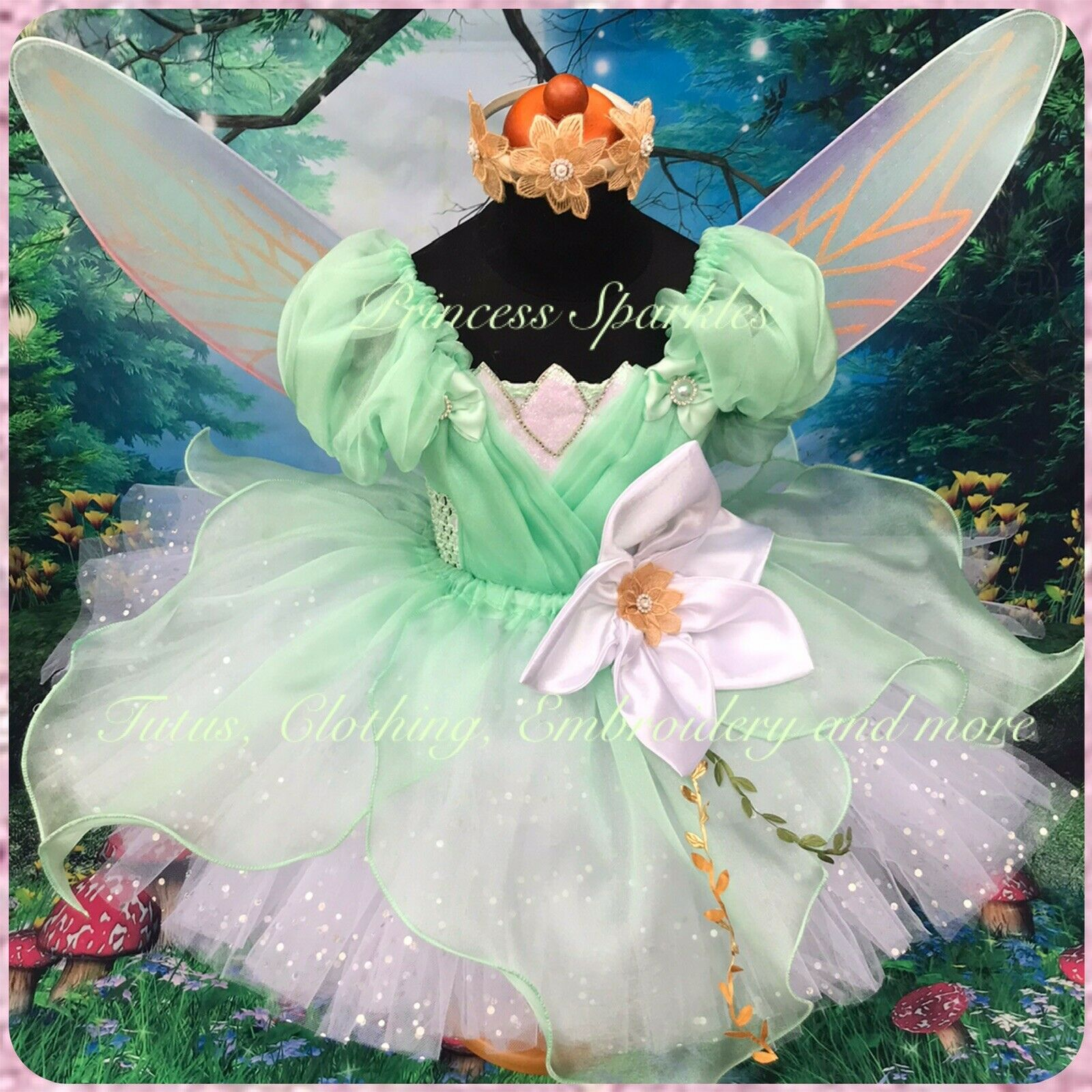 Mint Fairy Princess Tutu Dress With organza overlay - other sizes available