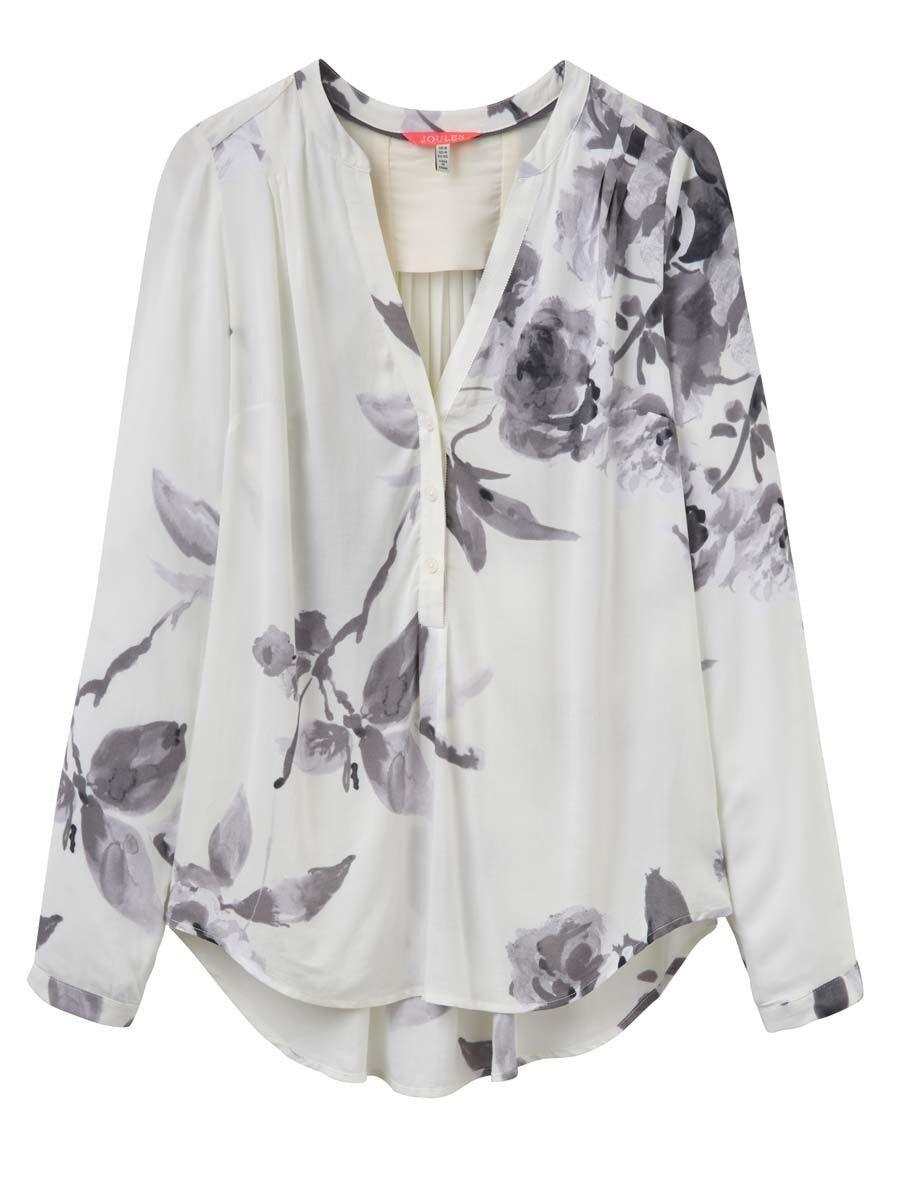 Joules rosemund léger élégant pop over chemisier-mono beau bloom