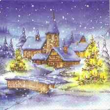 4 Single Paper Napkins for Decoupage Christmas Village Winter