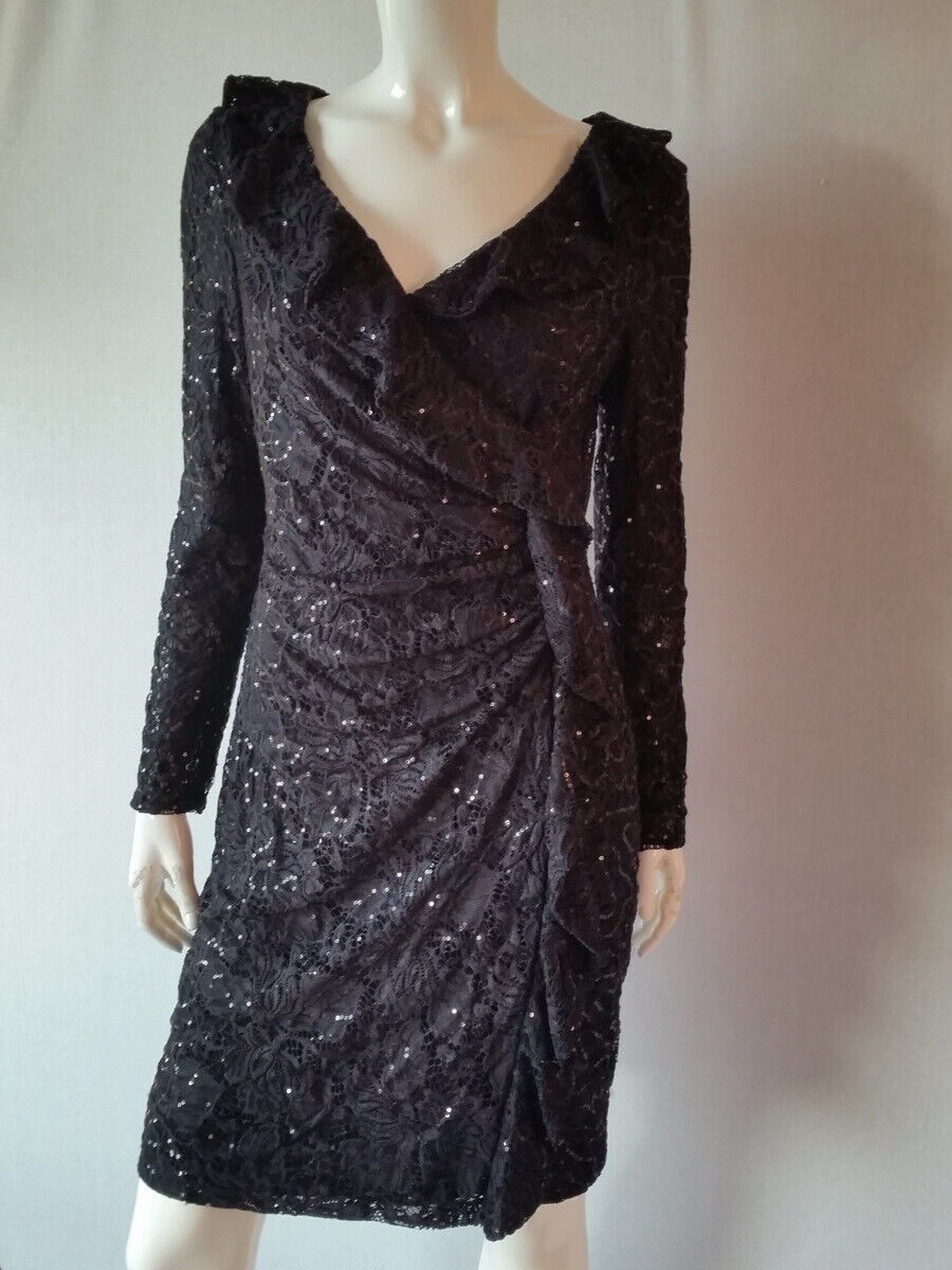 LAUREN RALPH LAUREN Kleid Partykleid mit Glitzer schwarz Gr.8 36 38NEU