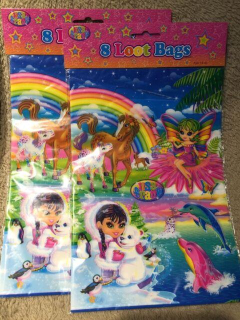 Lisa Frank Party Favor 8 Loot Bags per pack  LOT OF 2 Girls Birthday - 16 Bags