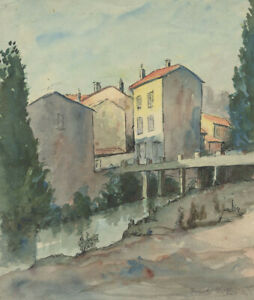Frank-Fidler-Italian-Town-Original-mid-20th-century-watercolour-painting