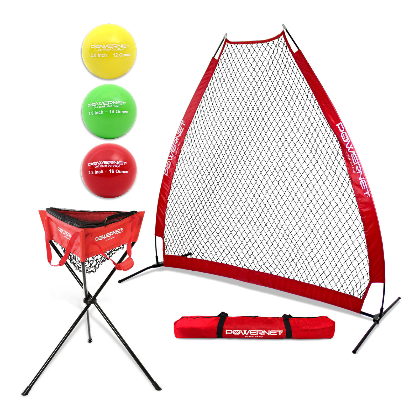 PowerNet Portable A-Frame Screen Baseball Pitching Screen A-Frame Zipperosso Ball Caddy 1d79e3