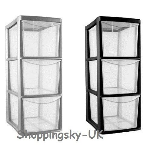 Plastic 3 Drawer Medium Tower Storage Organise Heavy Duty Office Home Top Choice