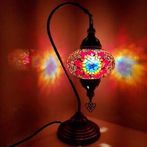 Details About Handmade Turkish Moroccan Colourful Lamp Light Gl Mosaic Desk Table Uk Er
