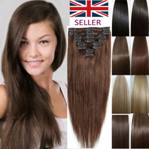 Real-Quality-HAIR-EXTENSIONS-CLIP-IN-FULL-HEAD-22-160G-8-PIECES-18-and-15-034-UK