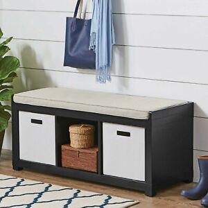 Details About 3 Cube Entryway Storage Bench Wood Cushion Sitting Furniture  Upholstered, Black