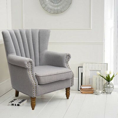 Occasional Wing Back Accent Armchair Living Dining Bedroom Chair Linen  Fabric UK  eBay