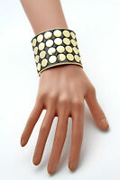 Women Gold Bracelet Metal Fashion Jewelry Circles Round Geometric Shapes Black