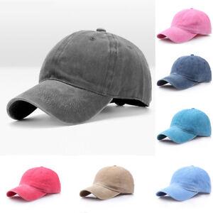 fbe29cbf Image is loading Men-Plain-Washed-Cap-Style-Cotton-Adjustable-Baseball-