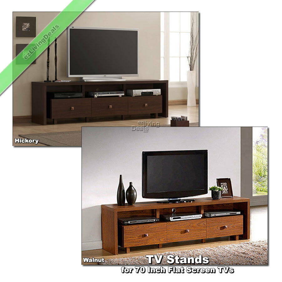 70 inch tv stand entertainment media console table for flat screens tvs walnut 34687203966 ebay. Black Bedroom Furniture Sets. Home Design Ideas