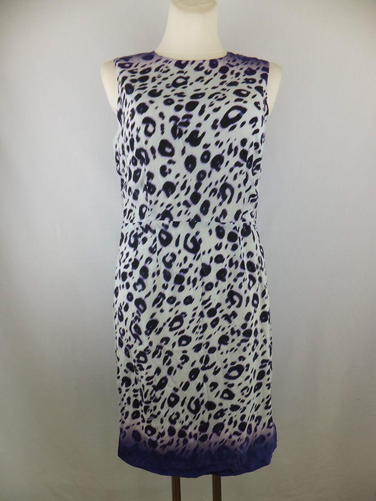 Amor & Psyche Kleid mit Seide  L  creme schwarz lila  neu m. Etikett - Leo Print