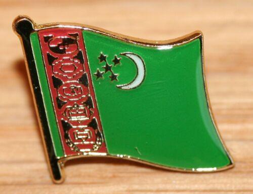 TURKMENISTAN Country Metal Flag Lapel Pin Badge