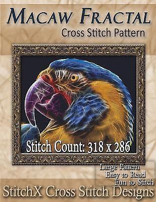 Macaw Fractal Cross Stitch Pattern, Paperback by Warrington,
