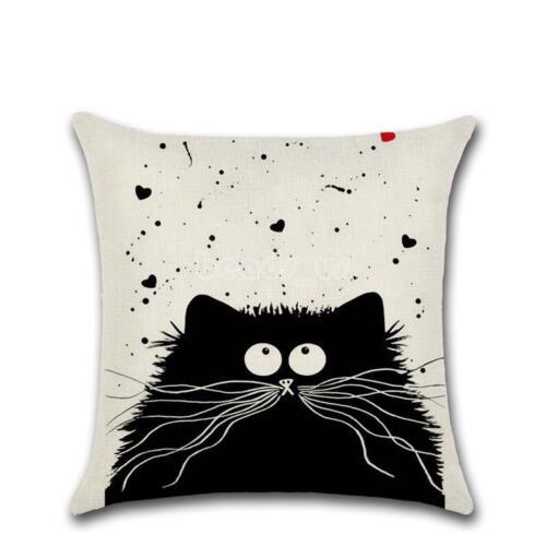 Cotton Fabric Pillow Case Cover Home Sofa Waist Throw Square Cushion Heart Black