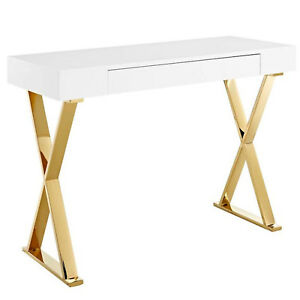 Details about Modern High Gloss White & Gold Office Study Writing Desk 1  Drawer X Metal Frame