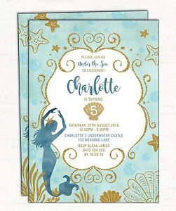 Little mermaid birthday invitation under the sea party invite teal image is loading little mermaid birthday invitation under the sea party stopboris Images