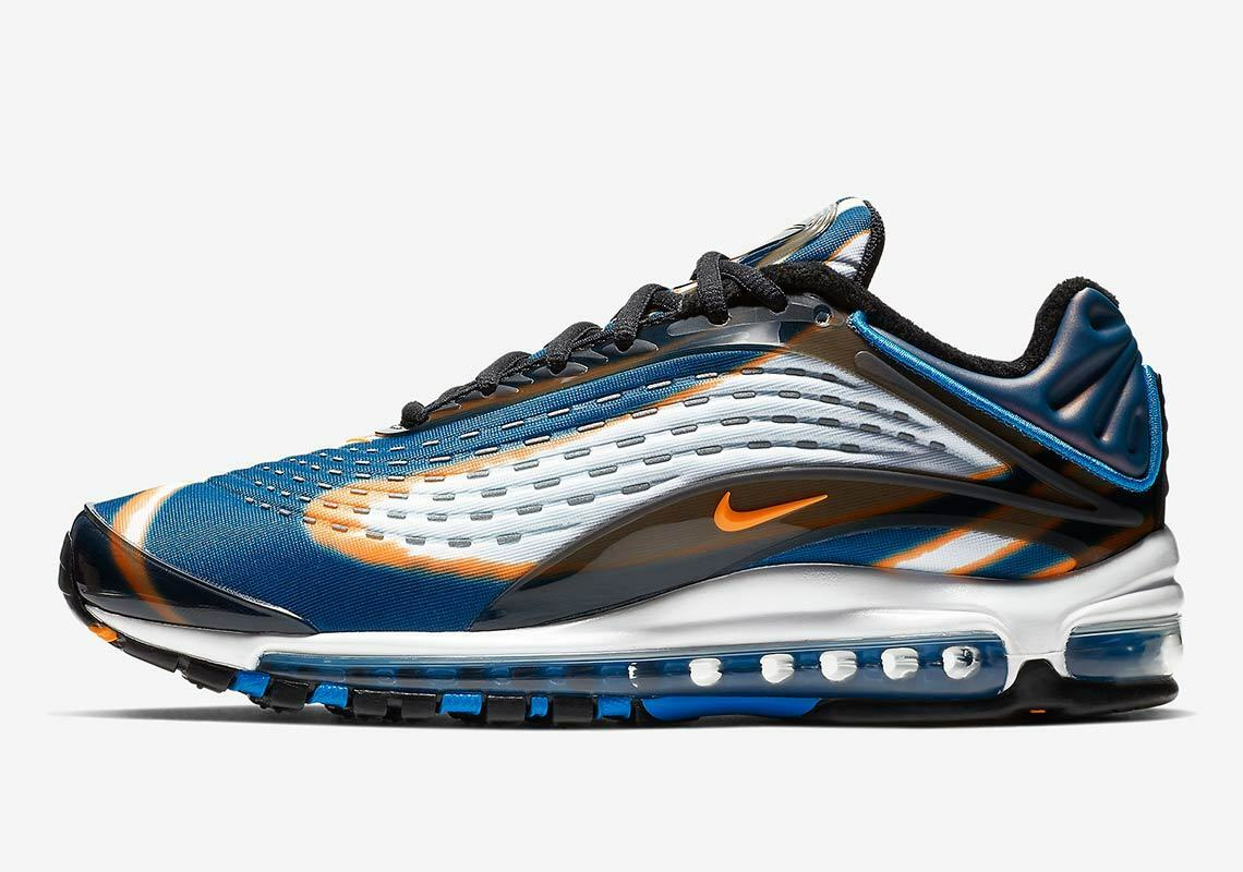 New Nike Men's Air Max Deluxe shoes (AJ7831-002) Cool Grey Total orange-bluee Frc