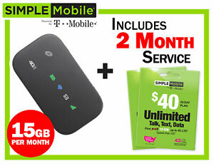 Details about New Mobile Hotspot ZTE Z291 4G LTE + 2 months Simple Mobile  $40 Plan 15GB/mo