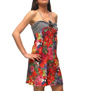 new product ef001 46842 Dettagli su Abito Met CASTLE J873 donna vestito corto a fascia taglia L  fiori pietre cotone